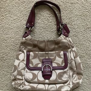 Coach handbag - beige and burgundy
